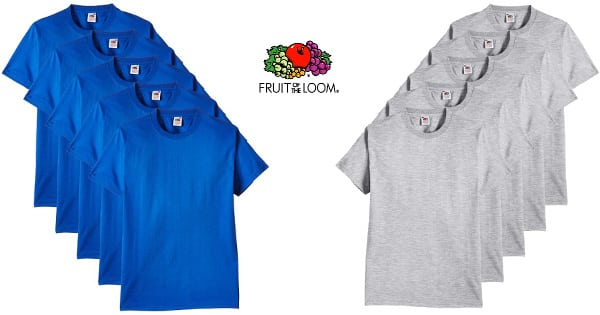 Pack 5 camisetas Fruit of the Loom baratas, camisetas baratas, ofertas en ropa de marca chollo
