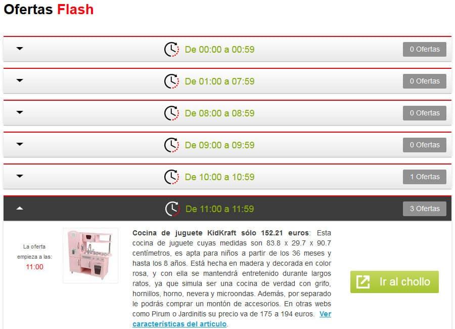 Ejemplo de vistualización de Ofertas Flash