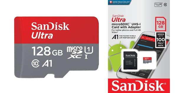 Tarjeta de memoria SanDisk Ultra 128GB barata, tarjetas de memoria baratas, chollo