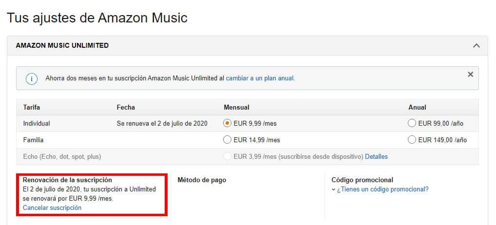 Ajustes Amazon Music Unlimited