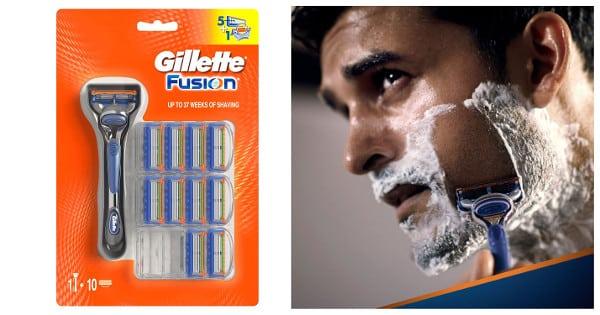 Maquinilla de afeitar Gillete Fusion con 10 + 1 recambios barata, maquinillas de afeitar baratas, chollo