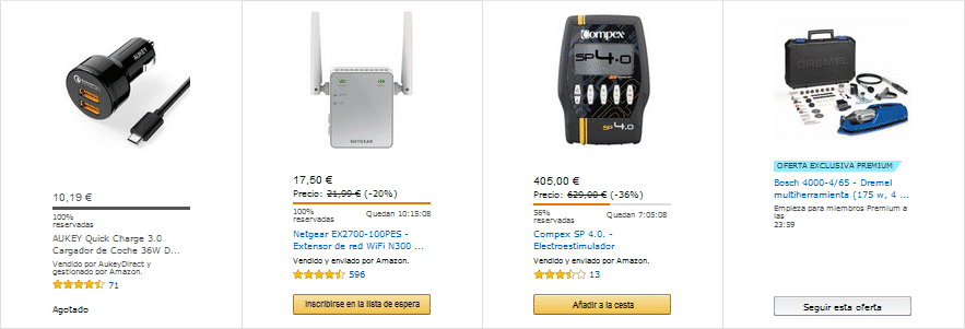 Ejemplo opciones ofertas Flash Amazon Prime Day