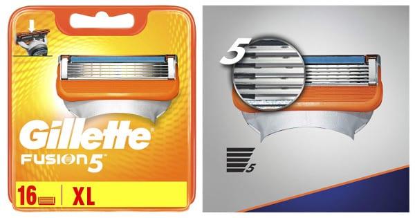 16 recambios Gillette Fusion5 baratos, recambios para maquinilla baratos, chollo
