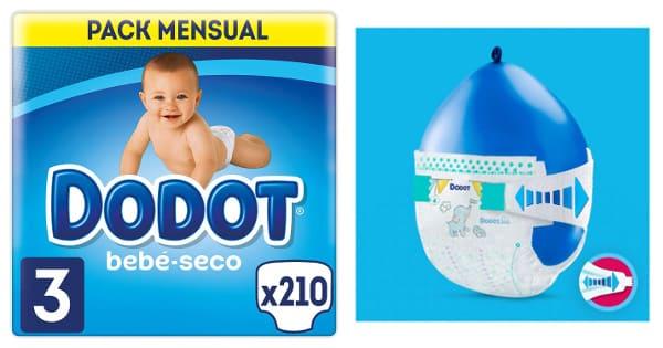 Pack 210 pañales Dodot bebé seco baratos, pañales baratos, ofertas para bebés chollo