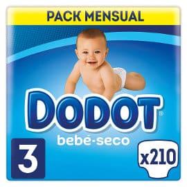 Pack 210 pañales Dodot bebé seco baratos, pañales baratos, ofertas para bebés