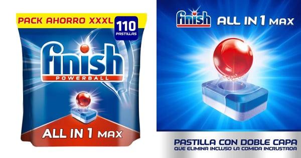 Pack de 110 pastillas de lavavajillas Finish Todo en Uno Regular barato, detergente para lavavajillas barato, ofertas en supermercado chollo