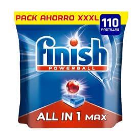 Pack de 110 pastillas de lavavajillas Finish Todo en Uno Regular barato, detergente para lavavajillas barato, ofertas en supermercado
