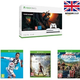 Pack Xbox One S 1TB + Shadow of Tomb Raider + FIFA19 + Far Cry 5 + Assassins Creed Origins barato, consolas baratas, videojuegos baratos