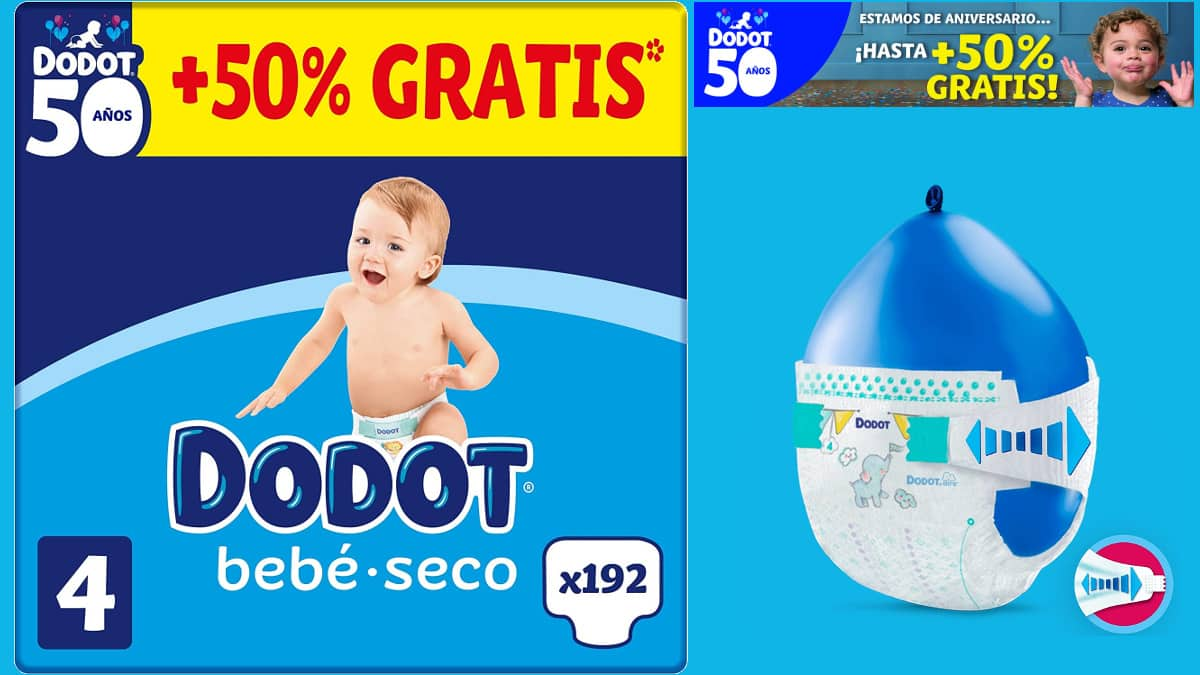 Pañales Dodot bebé seco baratos, pañales de marca baratos, ofertas supermercado, chollo