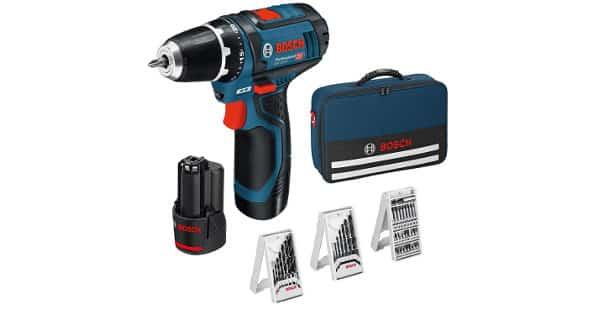 Taladro atornillador Bosch Professional GSR 12V-15 con dos baterías, 39 accesorios y maletín barato, herramientas baratas, chollo