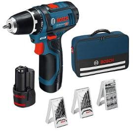 Taladro atornillador Bosch Professional GSR 12V-15 con dos baterías, 39 accesorios y maletín barato, herramientas baratas