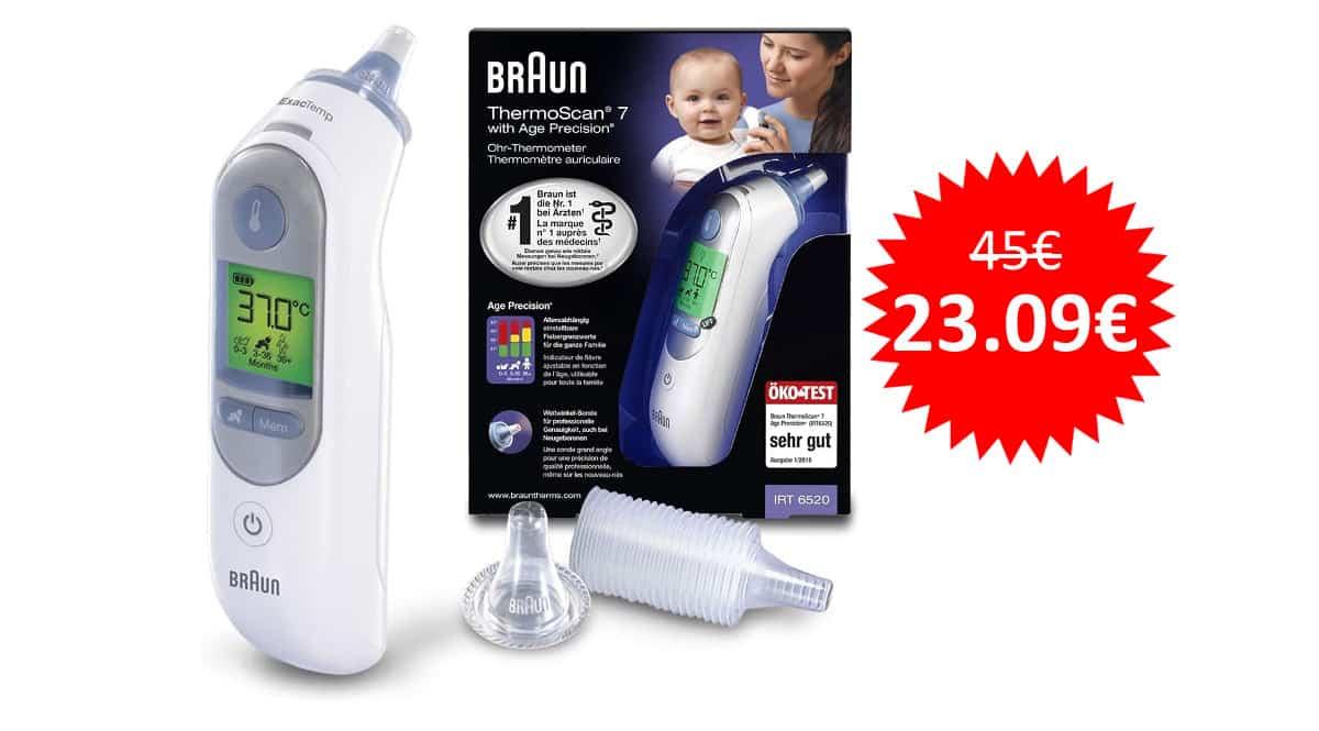 ¡Precio mínimo histórico! Termómetro digital Braun IRT6520 sólo 23 euros. Mitad de precio.