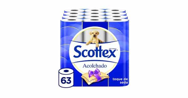 Pack de 63 rollos de papel higiénico Scottex acolchado barato, ofertas en supermercado, chollo