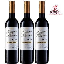3 botellas de vino Marqués de Carrión reserva Rioja baratas, vino barato