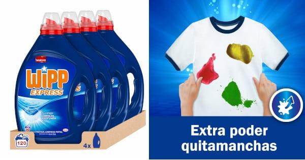 Pack de 120 lavados de detergente líquido Wipp Express barato, productos limpieza baratos, jabón para ropa barato chollo