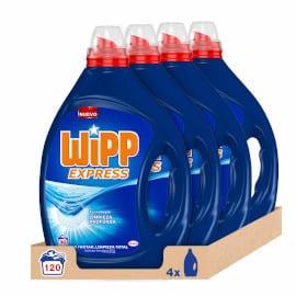 Pack de 120 lavados de detergente líquido Wipp Express barato, productos limpieza baratos, jabón para ropa barato