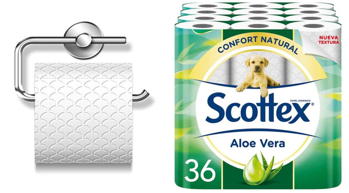 Pack de 36 rollos de papel higiénico Scottex Aloe Vera barato. Ofertas en supermercado, chollo