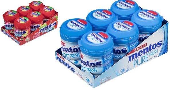 6 botes de chicles sin azúcar Mentos baratos, caramelos baratos, ofertas supermercado, chollo