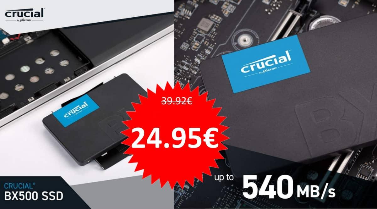 Disco SSD Crucial BX500 de 240GB barato. Ofertas en discos SSD, discos SSD baratos, chollo