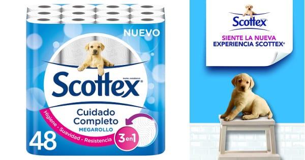 48 rollos de papel higiénico Scottex Megarollo barato, ofertas en supermercado, papel higiénico barato chollo