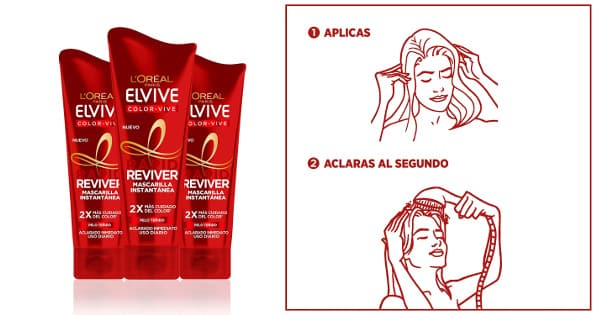 Mascarilla L'Oréal Elvive Color Vive Rapid Reviver pack de 3 barata, ofertas en productos de pelo, mascarillas baratas chollo