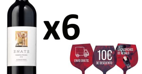 Pack de 6 botellas de vino Enate Reserva 2016. Ofertas en vino, vino barato, chollo