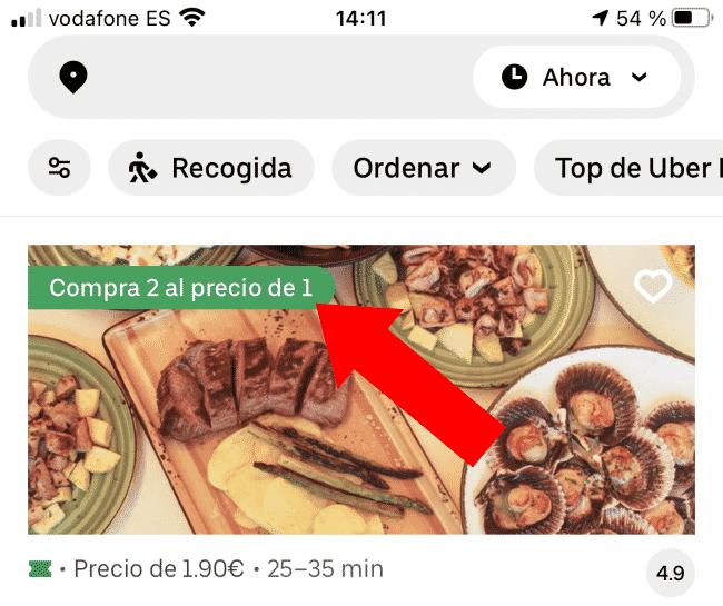 Pedido 2x1 en Uber Eats