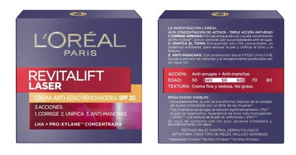 Crema de día antiedad L'Oreal Revitalift Láser SPF 20 barata, productos de belleza baratos, cremas antiedad baratas chollo