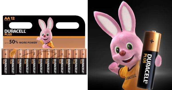 Pack 12 pilas alcalinas Duracell Plus AA 1,5 voltios baratas, pilas baratas, baterías baratas, pilas aa baratas chollo