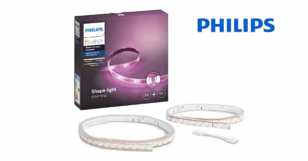 Pack de tiras de luz LED Philips Hue Lightstrip Plus 2 metros + 1 metro barato, luces LED baratas, chollo