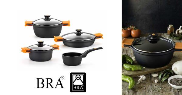 Batería de cocina BRA Efficient 4 piezas barata, ollas baratas, sartenes baratas, menaje de cocina barato chollo