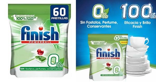 Detergente lavavajillas Finish 0% pack de 60 pastillas barato, detergente barato, productos limpieza baratos chollo