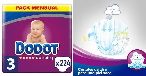 Pack 224 pañales Dodot Activity talla 3 baratos, productos para bebé baratos, pañales baratos chollo