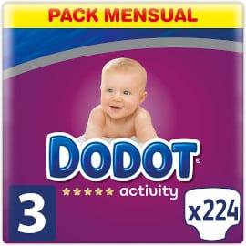 Pack 224 pañales Dodot Activity talla 3 baratos, productos para bebé baratos, pañales baratos