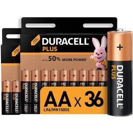 ¡Precio mínimo histórico! Pack 36 pilas alcalinas Duracell Plus AA 1.5V sólo 18.47 euros.