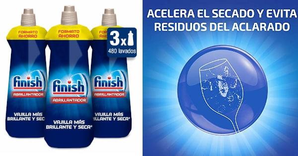 Abrillantador para lavavajillas Finish pack 3 unidades x 800 ml barato, detergente lavavajillas barato, productos supermercado baratos chollo