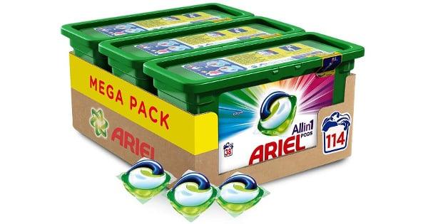 Pack de 114 cápsulas de detergente Ariel Pods 3 en 1 Color barato, detergente barato, ofertas supermercado, chollo