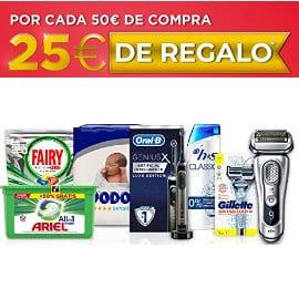 Regalo de 25€ por cada 50€ de comrpa en P&G, pañales, artículos de limpieza baratos, ofertas supermercado