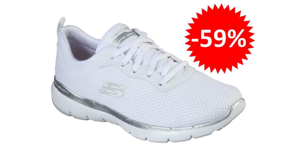¡Código descuento! Zapatillas para mujer Skechers Flex Appeal 3.0 sólo 26 euros. 59% de descuento.