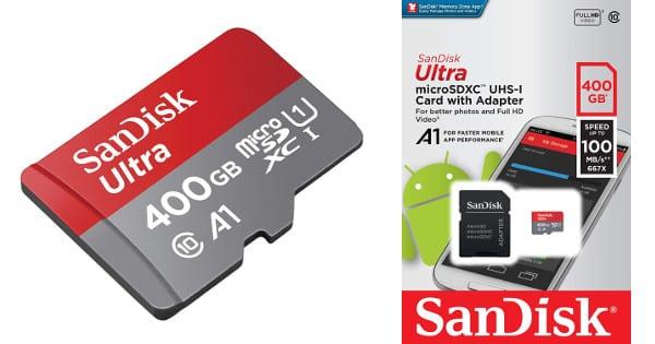 Tarjeta de memoria SanDisk Ultra de 400GB barata, tarjetas de memoria baratas, chollo