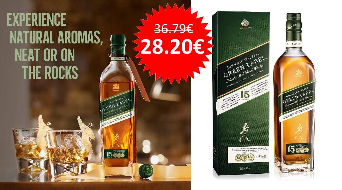 ¡Chollo Día del Padre! Whisky escocés Johnnie Walker Green Label sólo 28 euros.