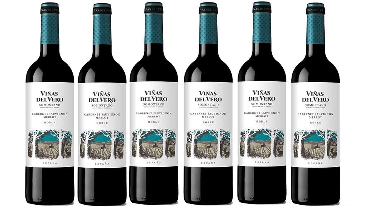 6 botellas de vino tinto Viñas del Vero Somontano.