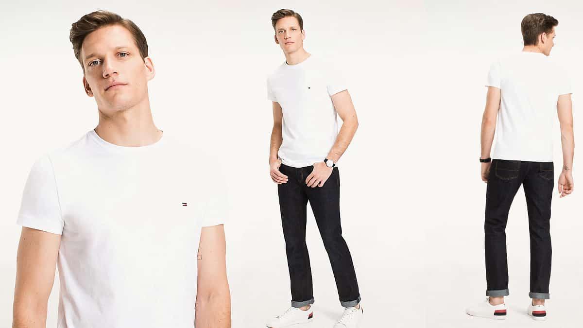 Camiseta básica Tommy Hilfiger Core Stretch Slim barata, camisetas de marca barata, ofertas en ropa, chollo