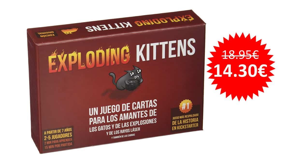 ¡Precio mínimo histórico! Juego de cartas Exploding Kittens sólo 14.30 euros.