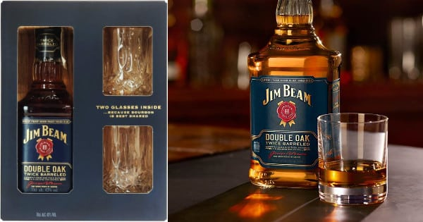 Whisky Jim Beam Doble Cask + 2 vasos barato, whisky barato, chollo