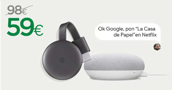 Google Chromecast 3+ altavoz Google Nest Mini baratos, Chromecast barato, altavoces baratos, chollo
