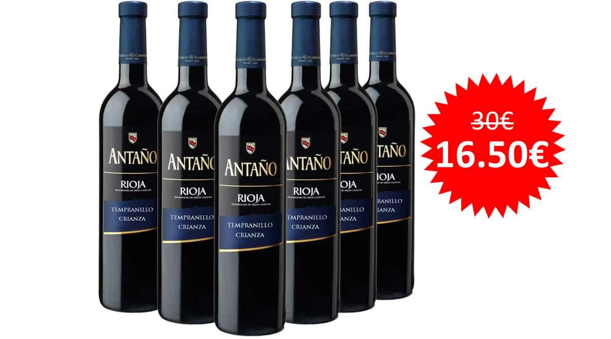 ¡¡Chollo!! 6 botellas de vino tinto La Rioja Antaño crianza sólo 16.50 euros.