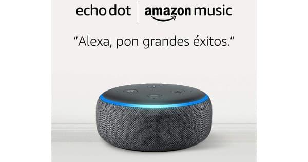 Amazon Echo Dot + 1 mes de Amazon Music Unlimited barato, altavoces baratos, chollo