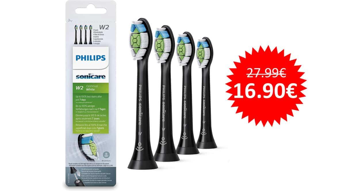 ¡Precio mínimo histórico! Pack con 4 cabezales para cepillos Philips Sonicare sólo 16.90 euros.