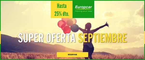 Súper oferta de septiembre en Europcar, alquiler de coches baratos, coches de alquiler baratos, chollo